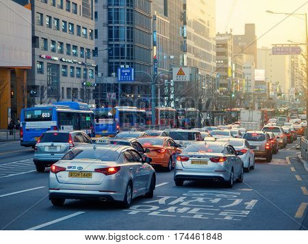 SEOUL KOREA - MARCH 04 2017 - Rush hour Traffic Jams at Hongdae in Seoul