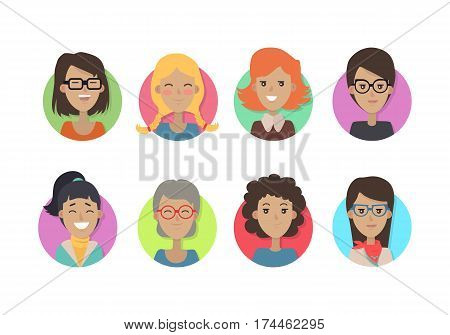 Woman face emotive icons. Smiling cute female characters of all ages flat vector illustrations isolated on white. Happy girl, lady, granny psychological portraits. Positive emotions user avatars