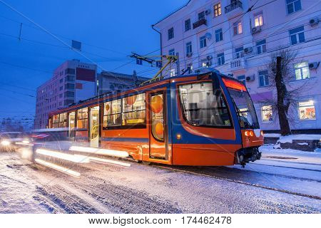 KHABAROVSK RUSSIA - JANUARY 14 2017: Tram in the street of winter city of Khabarovsk