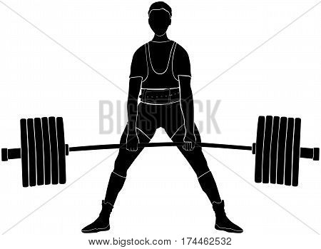 male athlete powerlifter deadlift in powerlifting black silhouette