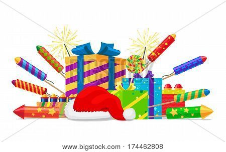 Fireworks, rockets, gift boxes and Santas hat set isolated on white. Vector illustration of colourful firework devices with pyrotechnic elements. New Year attributes and Christmas decorations.