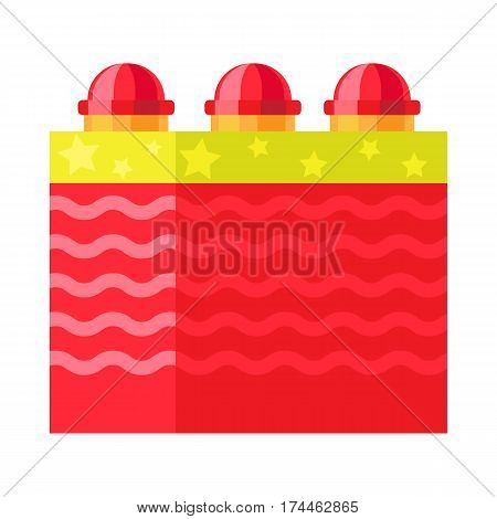 Red box with ground bloom flower firework element. Vector illustration of pyrotechnics for festivals. Celebration of any occasions with salute device. Used for aesthetic and entertainment purposes.