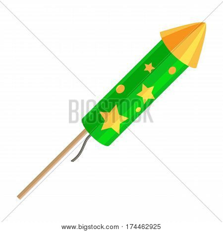 Green exploding rocket with golden stars isolated on white background. Vector illustration of fireworks element in cartoon style flat design. New Year attribute salute emblem pyrotechnic firecracker.