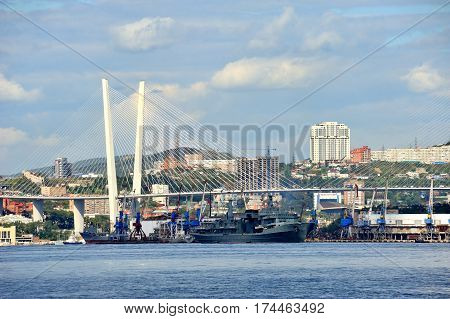 Vladivostok city in summertime golden horn bay golden bridge