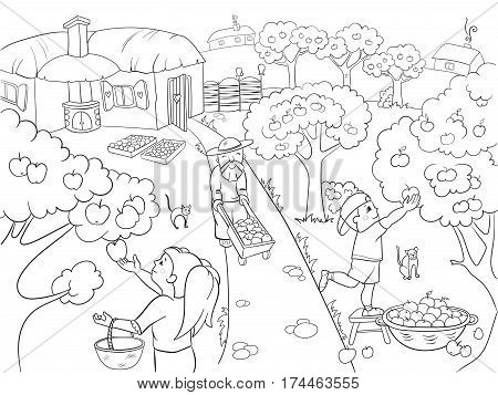 Kids Coloring cartoon on the theme of harvest vector illustration. Zentangle style. Black and white, children, garden, village, apples, harvest, autumn
