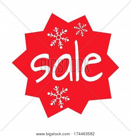 Christmas sale shaped red icon on white background. Enormous discount on presents in big supermarkets and boutiques. Three white snowflakes as decoration elements of label. Vector illustration.
