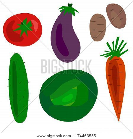 Flat Cartoon vegetables set vector illustration. Objects cucumber, tomato, cabbage, carrots, eggplant, potatoes and courgettes