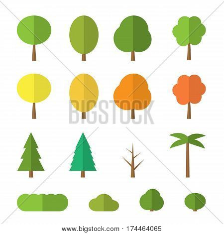 Vector flat trees on white background. Various trees with green, orange and yellow leaves. green, blue fir, bushes and palm. Simple tree icon isolated.