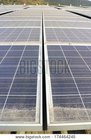 Dirty Dusty Photovoltaic Panels Solar Rooftop System