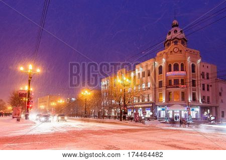 Night winter view of Khabarovsk, Far East of Russia