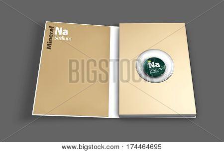 Mockup book of Sodium mineral. 3D Illustration