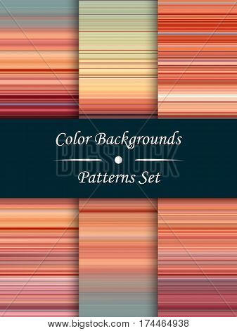 Horizontal colorful stripes abstract background stretched pixels effect seamless patterns set