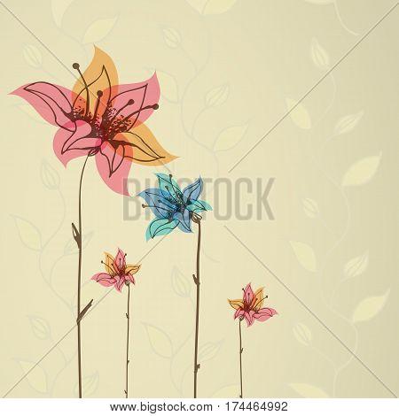 Beautiful color floral frame. Vintage style. Vector illustration