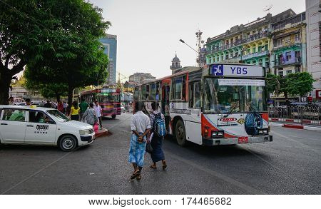 Traffic In Yangon, Myanmar