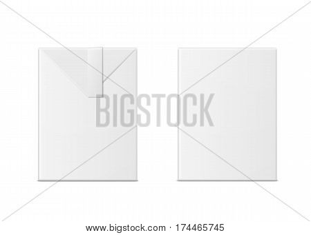 Vector 3d mock up of milk or juice box on white background. Realistic carton half liter package isolated. Template for your design. Front view.