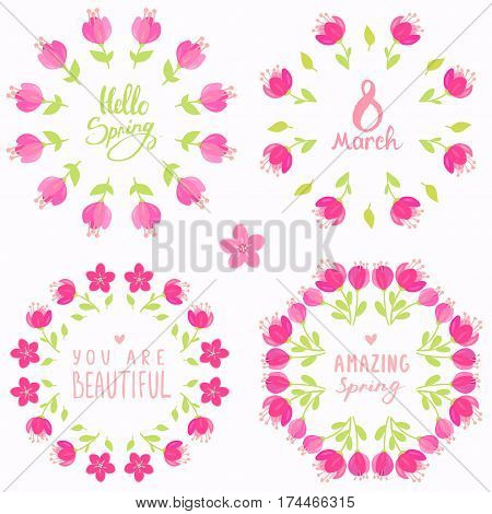 Set of stylish beautiful floral wreath with text. Vector illustration. Spring bouquet flowers