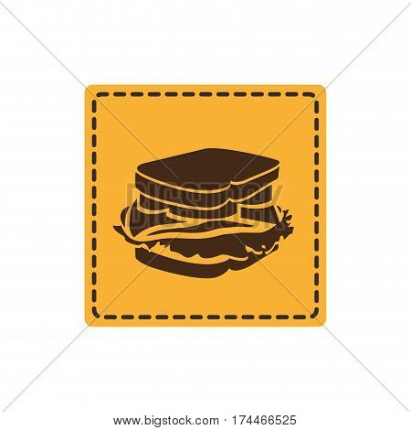 yelow emblem sticker sandwich icon, vector illustraction design image