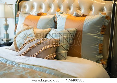 pillows on a classical bed horizontal composition