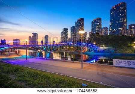 SongdoSouth Korea - May 17 2015: Songdo Central Park in Songdo International Business District Incheon South Korea.