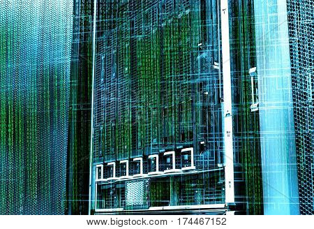 concept of disk storage data center. Information technology and database