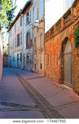 A little street of Toulouse in France