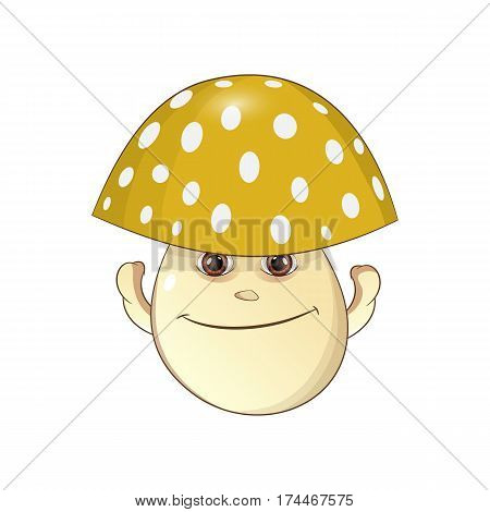 cheerful yellow mushroom - fungus Vector Illustration on white background