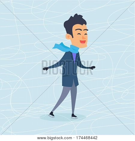 Isolated cartoon boy in warm winter clothes is skating on ice rink. Vector illustration in flat design of male person in blue scarf, grey trousers and bluish jacket. Christmas entertainments in town.