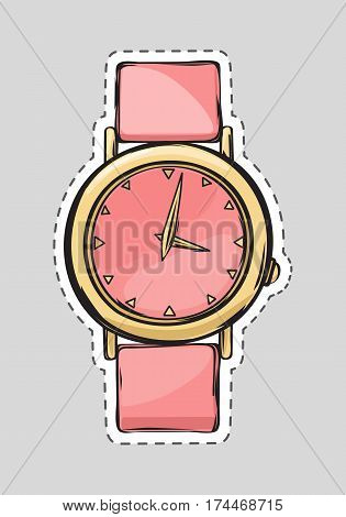 Pink watch with belt. Cut it out. Illustration of isolated fashionable object for women. Rosy female stylish clock on hand in cartoon design. Flat style. Fashion. Watch in golden round frame. Vector