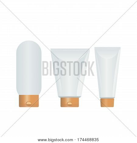 Cosmetic plastic bottle with dispenser pump. Plastic bottle and carton for creams, lotions, gels. Vector illustration isolated on white background.
