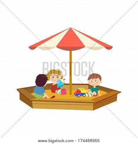 Kids on the playground concept. Young children playing in the sandbox on the playground, communicate, have fun and have fun in your spare time. Vector illustration isolated on white background.