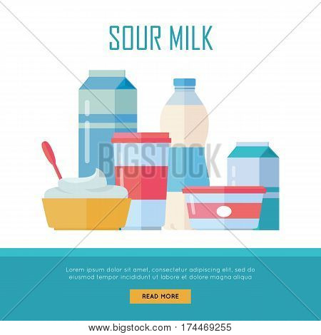 Different traditional dairy products from sour milk on white background. Sour milk, cottage cheese and yogurt. Assortment of dairy products. Farm food. Dairy website template.