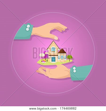 Big brown two-storeyed house with yard and different color trees. Vector illustration. Springline window, brown gable and gazebo roofs. Two hands present icon. Insurance concept. Take care. Flat style