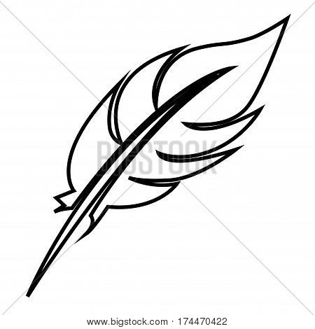 white figure feather icon stock, vector illustraction design image