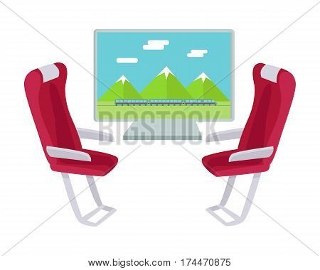 Two sits and view from the window isolated on white. Train travel concept web banner. Railway comfort journey vector illustration in flat style design. Comfortable armchairs in express. Vector