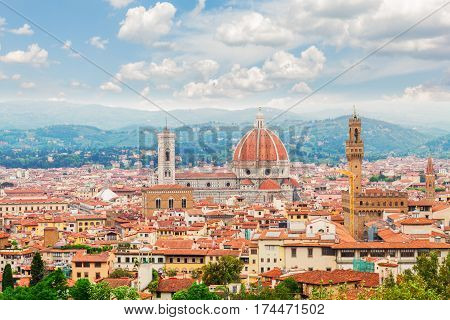 cityscape with cathedral church Santa Maria del Fiore and Palazzo Vecchio, Florence, Italy