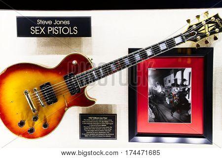LAS VEGAS, NV- OCT 09, 2016: Display of guitar used SEX PISTOLS in Hard Rock HOTEL LAS VEGAS.