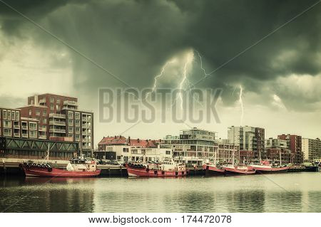 Vintage Landscape With Ships And Lightning
