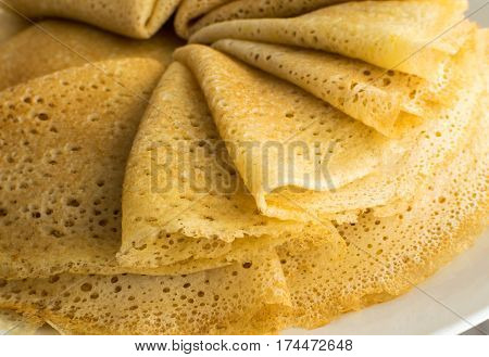 Stack Of Thin Pancakes Or Crepes