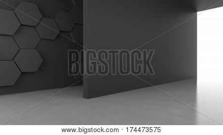 Blank dark concrete wall with hexagons pattern background with bright light from entrance. 3D rendering.