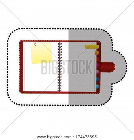 color agenda with tabs and paper note icon, vector illustraction design