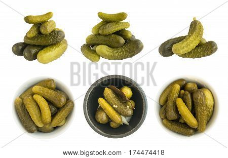 Set Of Homemade Pickled Gherkins Or Cucumbers Isolated