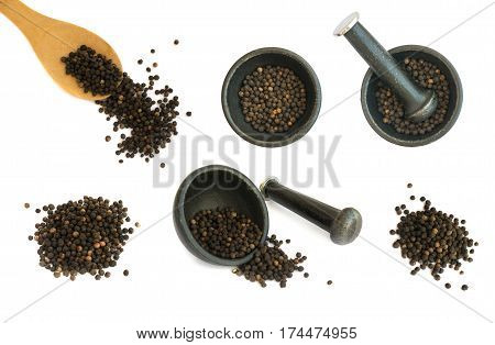 Set Of Hot Black Pepper Seeds Isolated