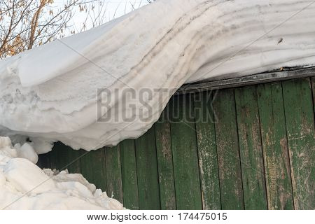 Large Snowdrifts Hanging From A Roof