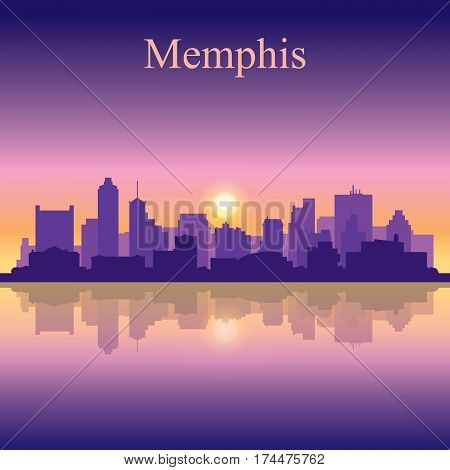 Memphis Silhouette On Sunset Background