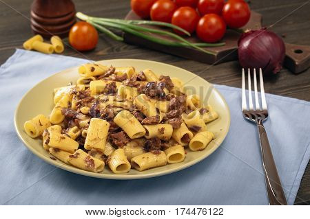 Macaroni with stewed beef.  Russian Navy Style pasta on table