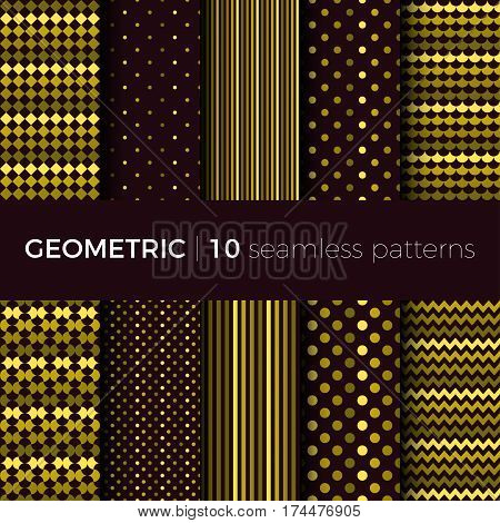 Set of geometric seamless patterns. The patterns are composed of dots, stripes, rhombus, zigzag and squama. Designs suitable for fabric, tile and scrapbooking paper.