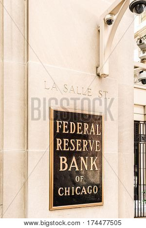 Chicago USA - May 30 2016: Federal Reserve sign logo and text with La Salle street