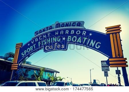 Santa Monica CA USA - November 03 2016: Welcoming arch in Santa Monica pier