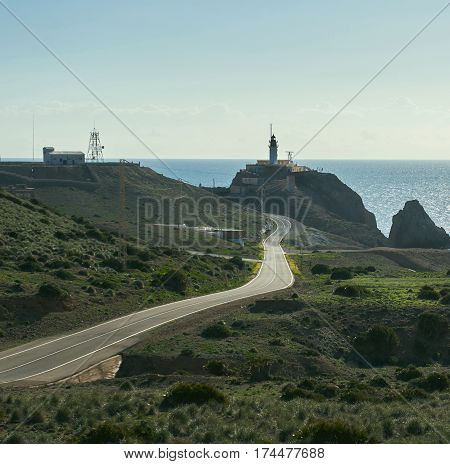 Mountain road leading to the Las Sirenas in the Cabo de Gata-Nijar Natural Park. South-eastern corner of Spain