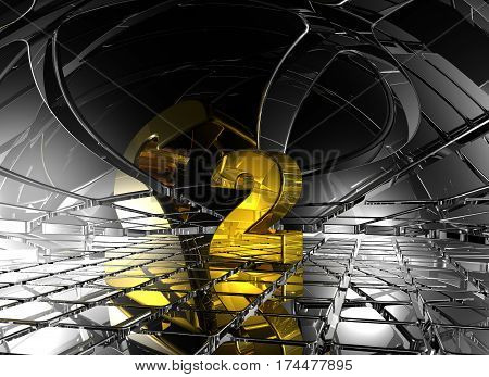 number two in abstract futuristic space - 3d rendering
